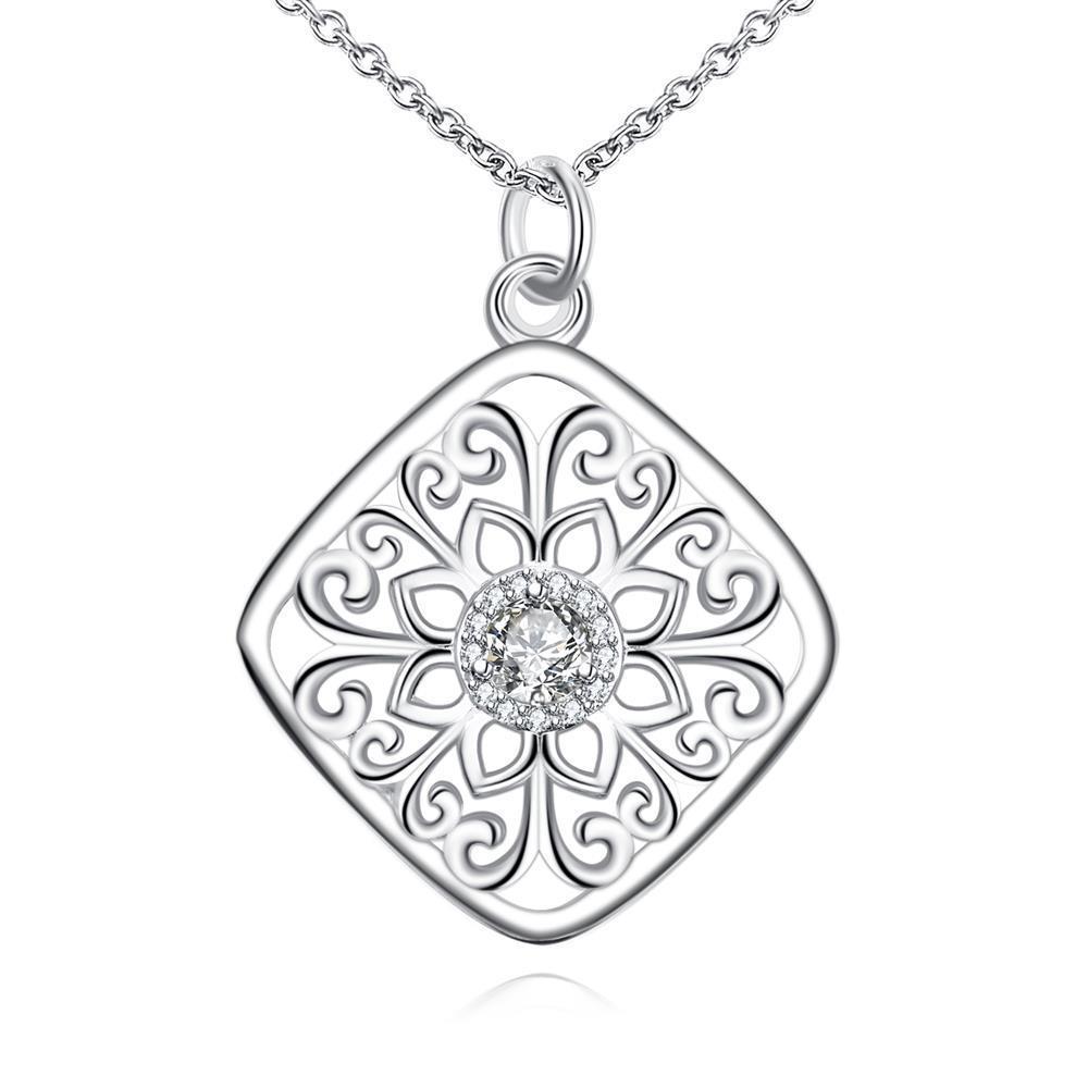 Vienna Jewelry Diamond Shaped Floral Emblem Pendant Drop Necklace