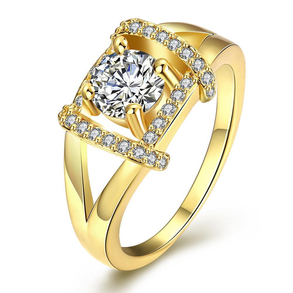 Vienna Jewelry Gold Plated Jewel Lined Ring