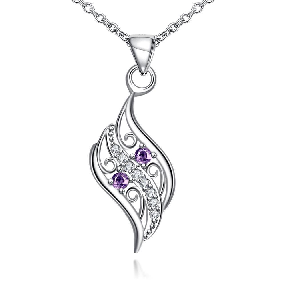 Vienna Jewelry Mock Purple Citrine Spiral Curved Emblem Necklace