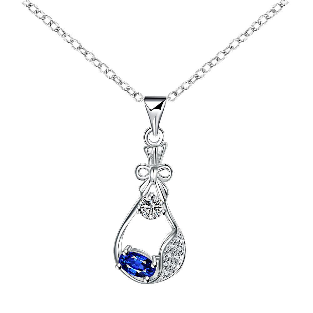Vienna Jewelry Sapphire Jewels Curved Pendant Drop Necklace