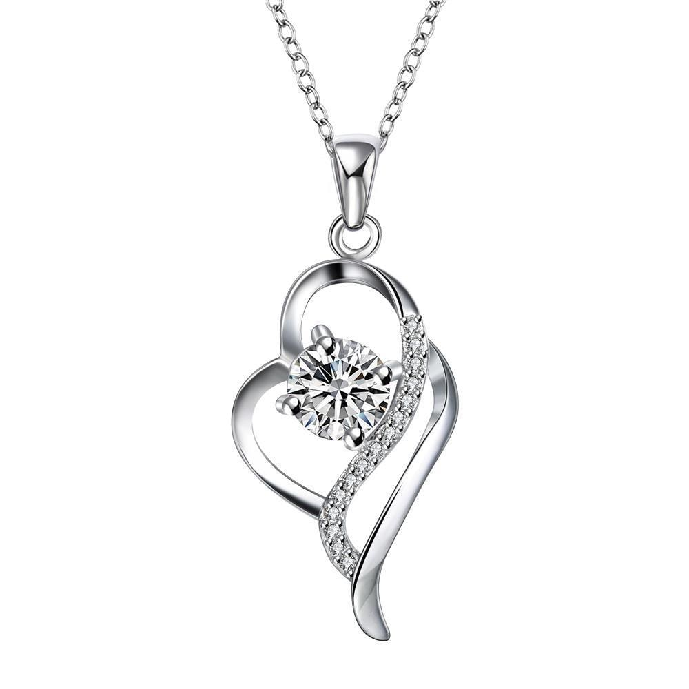 Vienna Jewelry Crystal Stone Curved Hollow Heart Drop Necklace