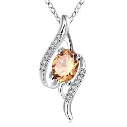 Vienna Jewelry Orange Citrine Gemstone Spiral Drop Necklace - Thumbnail 0