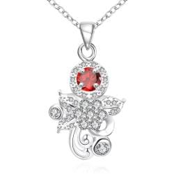 Vienna Jewelry Petite Ruby Red Sapphire Orchid Drop Necklace - Thumbnail 0