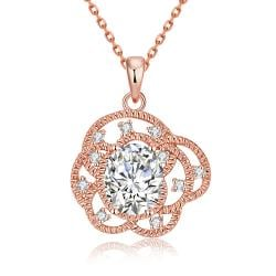 Vienna Jewelry Rose Gold Plated Art Abstract Necklace - Thumbnail 0