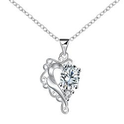 Vienna Jewelry Blossoming Crystal Stone Heart Shaped Drop Necklace - Thumbnail 0