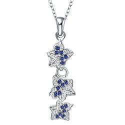 Vienna Jewelry Trio-Sapphire Floral Dangling Drop Necklace - Thumbnail 0