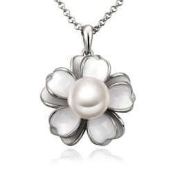 Vienna Jewelry White Gold Plated Ivory Floral Pearl Emblem Necklace - Thumbnail 0