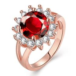 Vienna Jewelry Gold Plated Jewels Covered Ruby Ring - Thumbnail 0