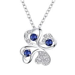 Vienna Jewelry Mock Sapphire Clover Pendant Drop Necklace - Thumbnail 0