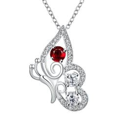 Vienna Jewelry Petite Ruby Red Spiral Butterfly Design Drop Necklace - Thumbnail 0