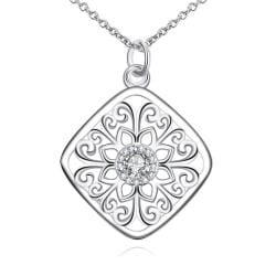 Vienna Jewelry Diamond Shaped Floral Emblem Pendant Drop Necklace - Thumbnail 0