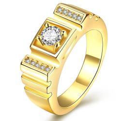 Vienna Jewelry Gold Plated Princess-Cut Composite Crystal Ring - Thumbnail 0