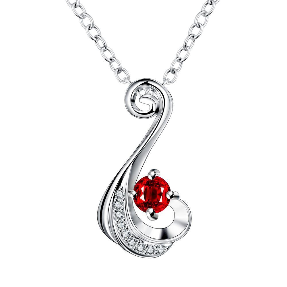 Vienna Jewelry Petite Ruby Red Spiral Drop Necklace