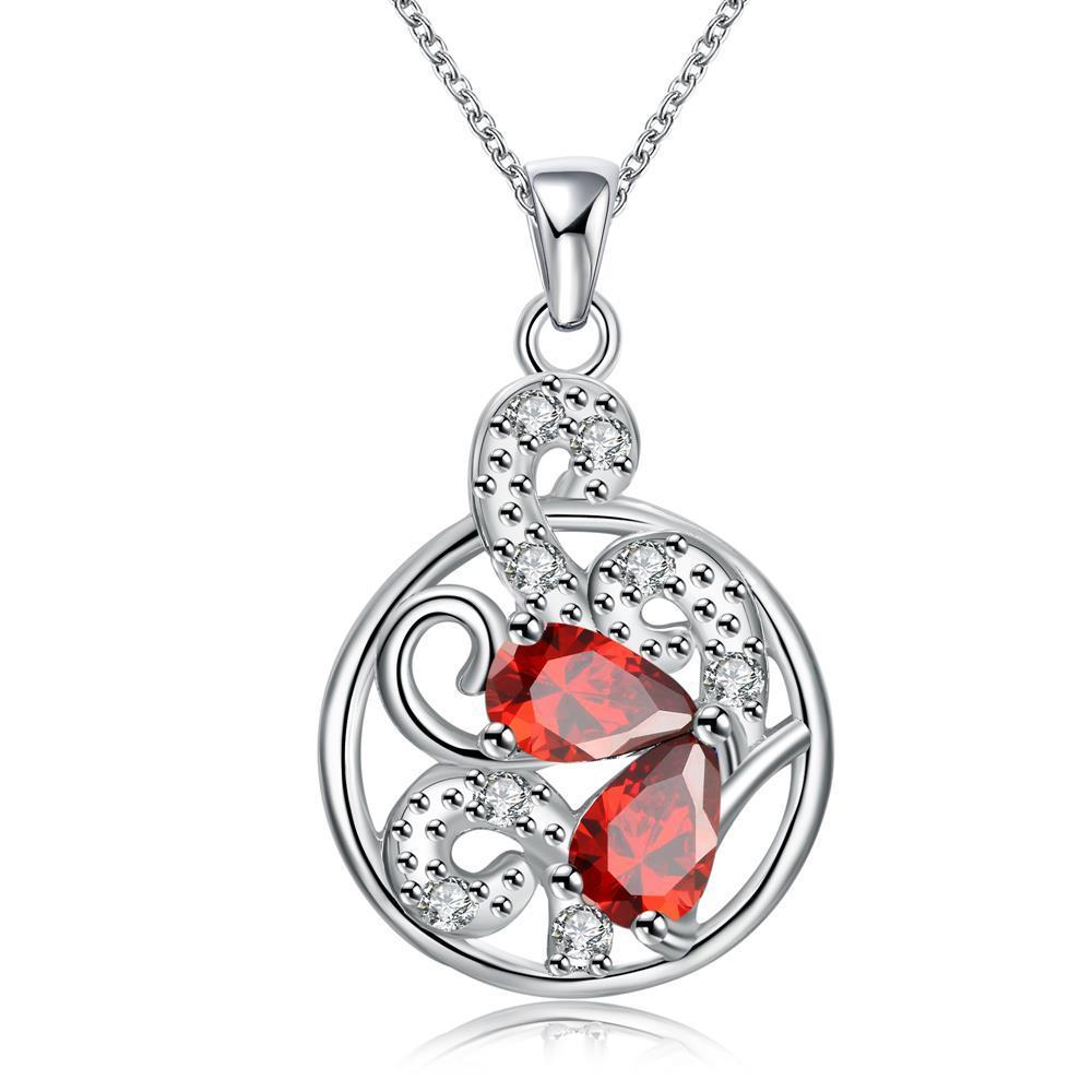 Vienna Jewelry Ruby Red Spiral Floral Drop Necklace - Thumbnail 0