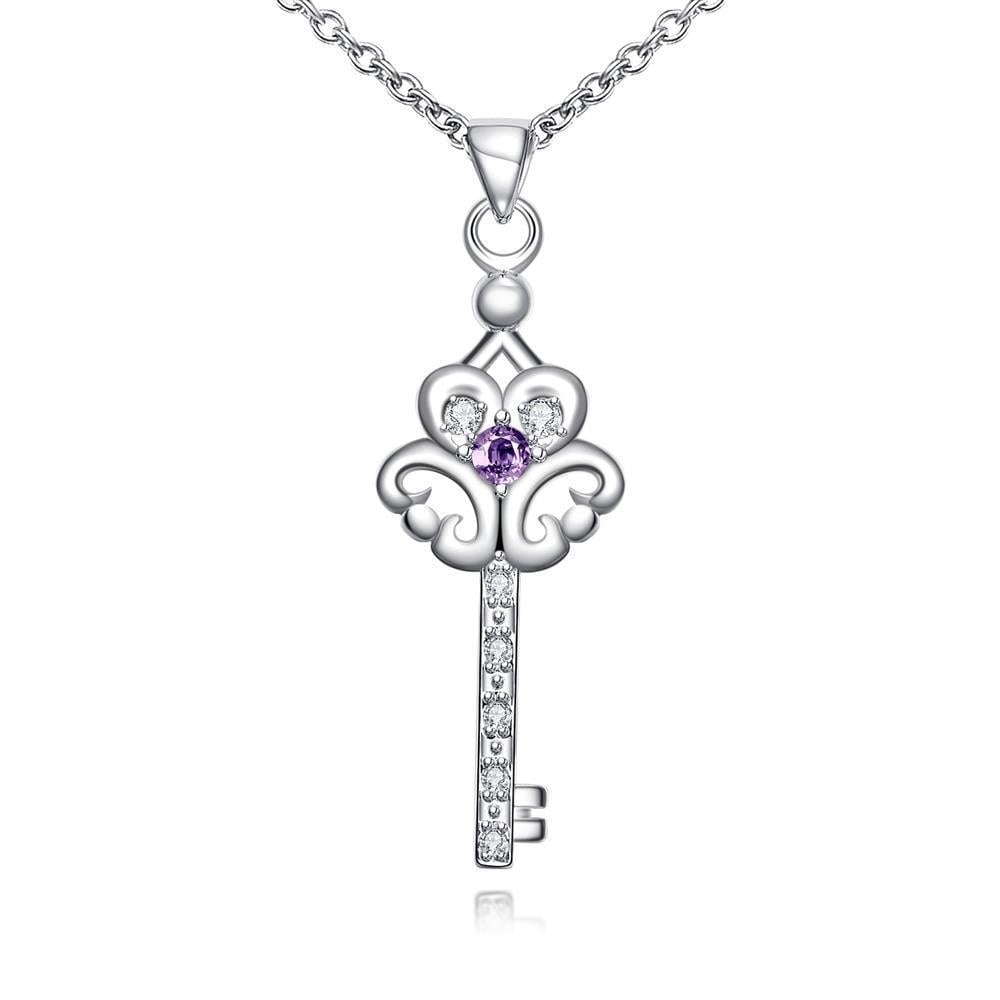 Vienna Jewelry Purple Citrine Doorkey Emblem Drop Necklace