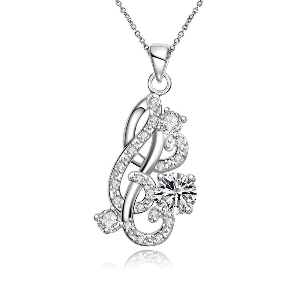 Vienna Jewelry Petite Crystal Stone Gem Spiral Abstract Emblem Necklace