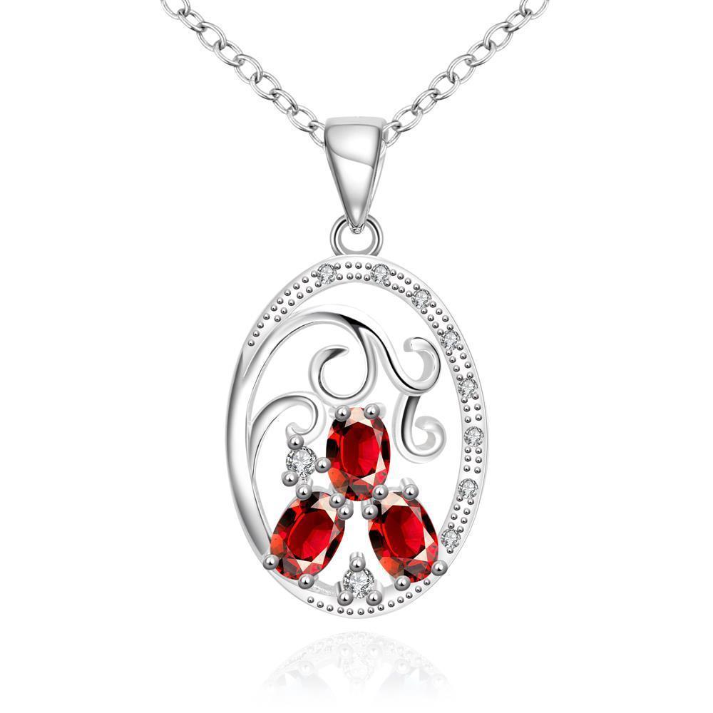 Vienna Jewelry Trio-Ruby Red Circular Pendant Drop Necklace