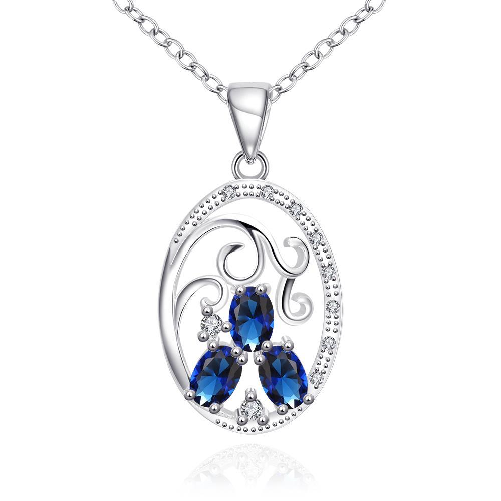 Vienna Jewelry Trio-Mock Sapphire Circular Pendant Drop Necklace - Thumbnail 0