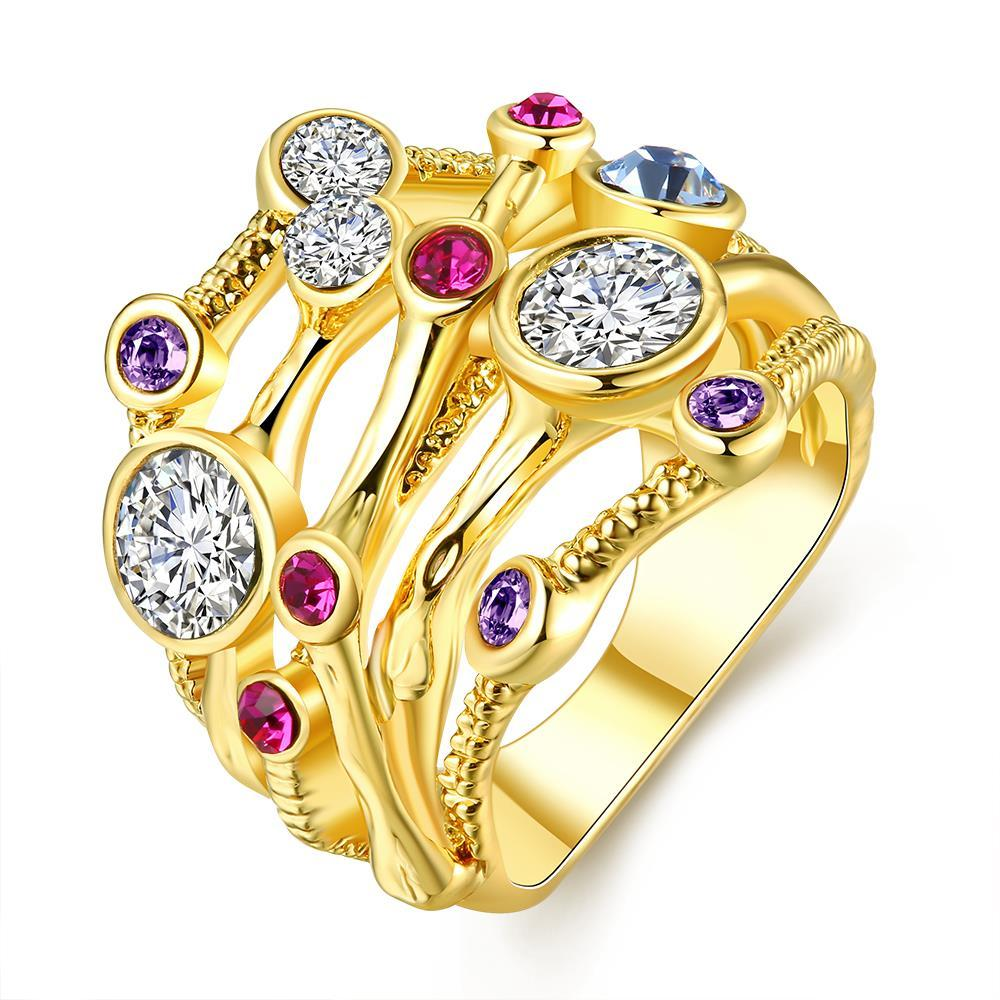 Vienna Jewelry Gold Plated Cotton Candy Lining Ring Size 7