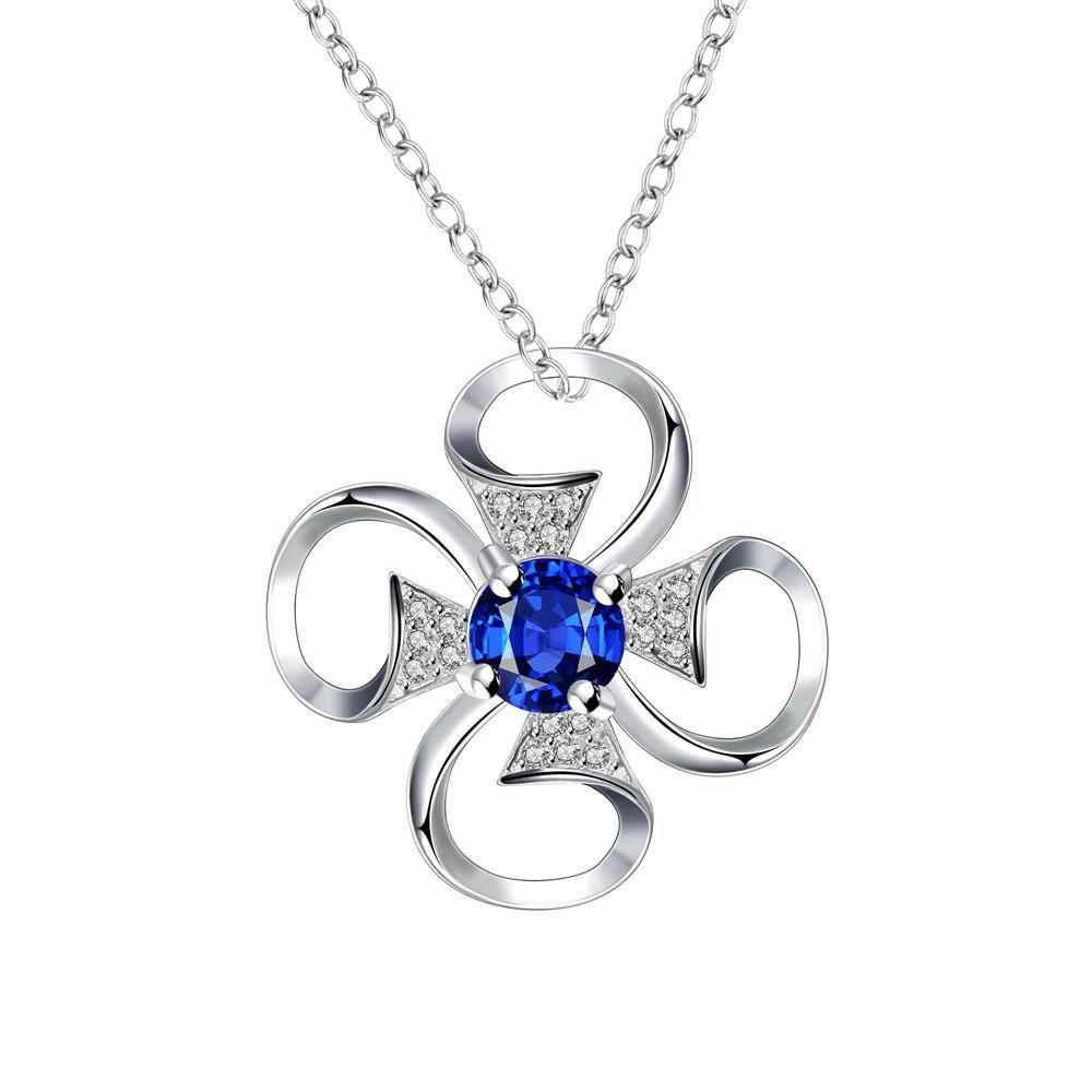 Vienna Jewelry Petite Mock Sapphire Hollow Clover Drop Necklace