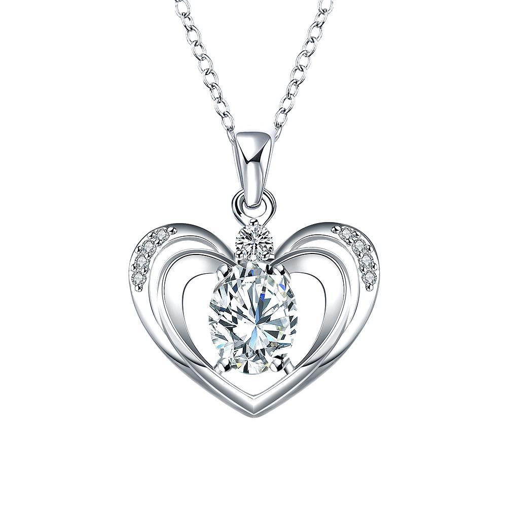 Vienna Jewelry Crystal Jewels Hollow Hearts Drop Necklace