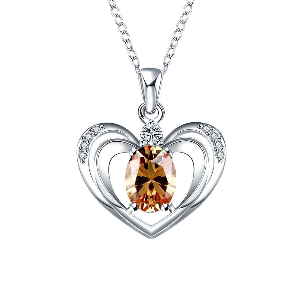Vienna Jewelry Orange Citrine Hollow Hearts Drop Necklace