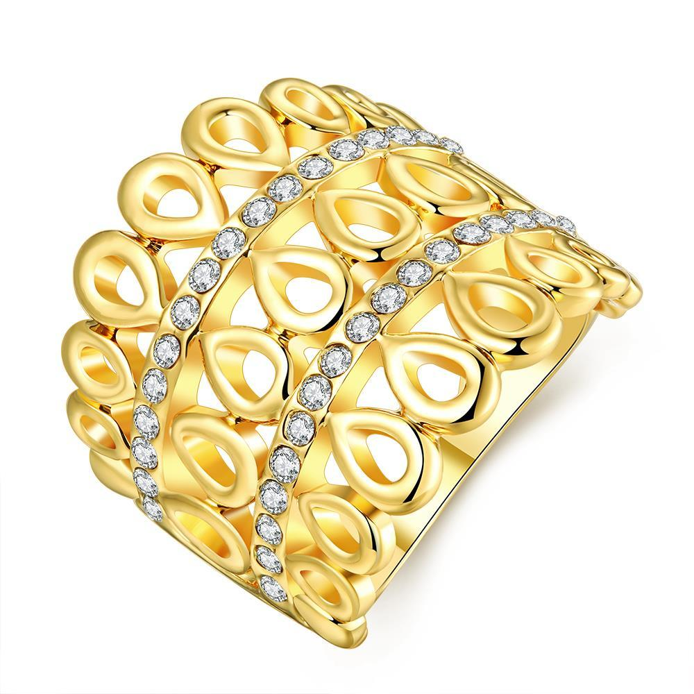 Vienna Jewelry Gold Plated Laser Cut Circular Rotated Geo Ring Size 7