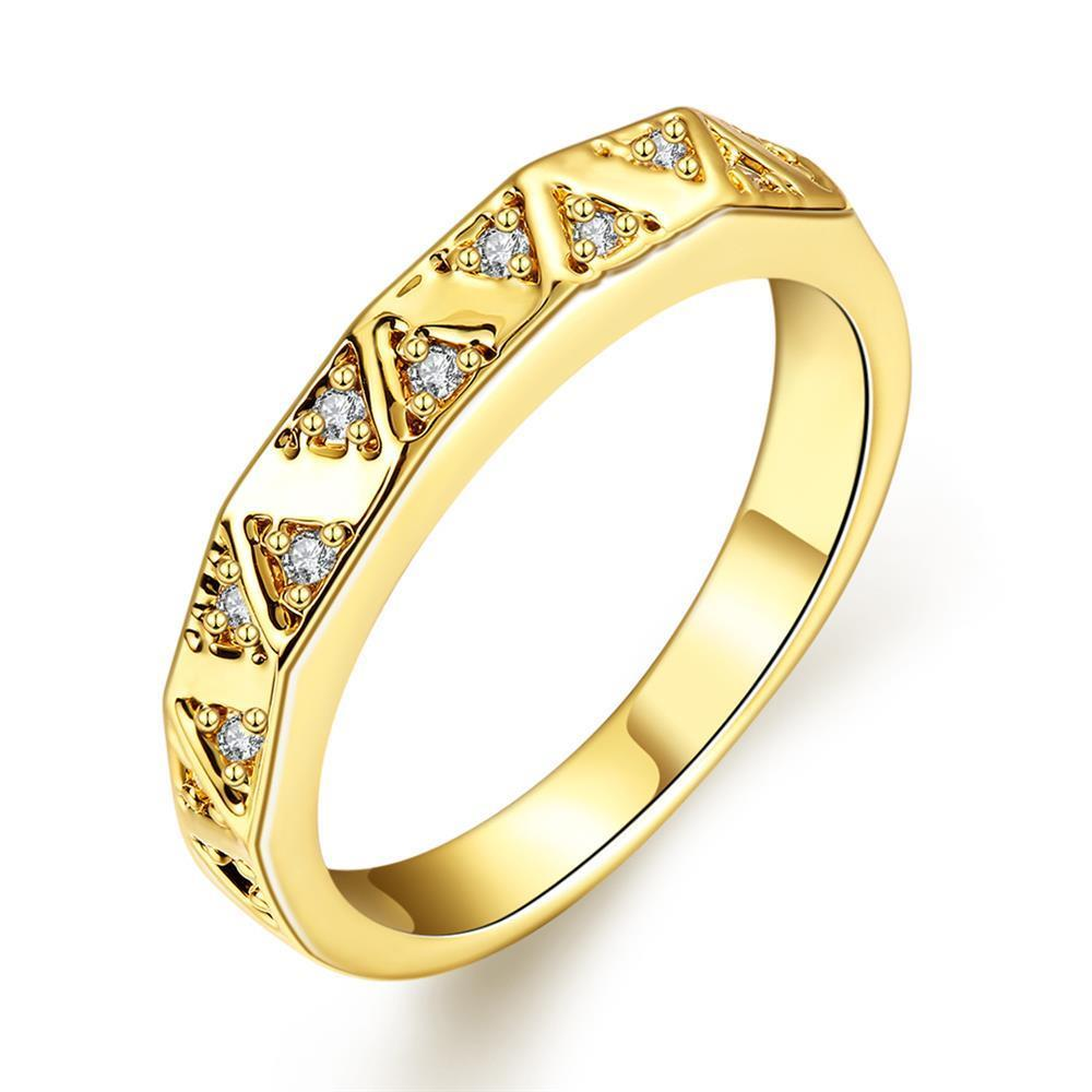 Vienna Jewelry Gold Plated Petite Horizontal Lined Ring
