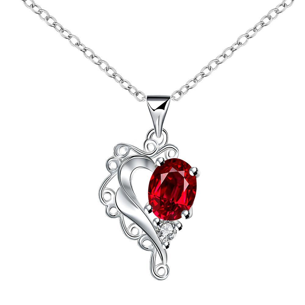 Vienna Jewelry Blossoming Ruby Heart Shaped Drop Necklace