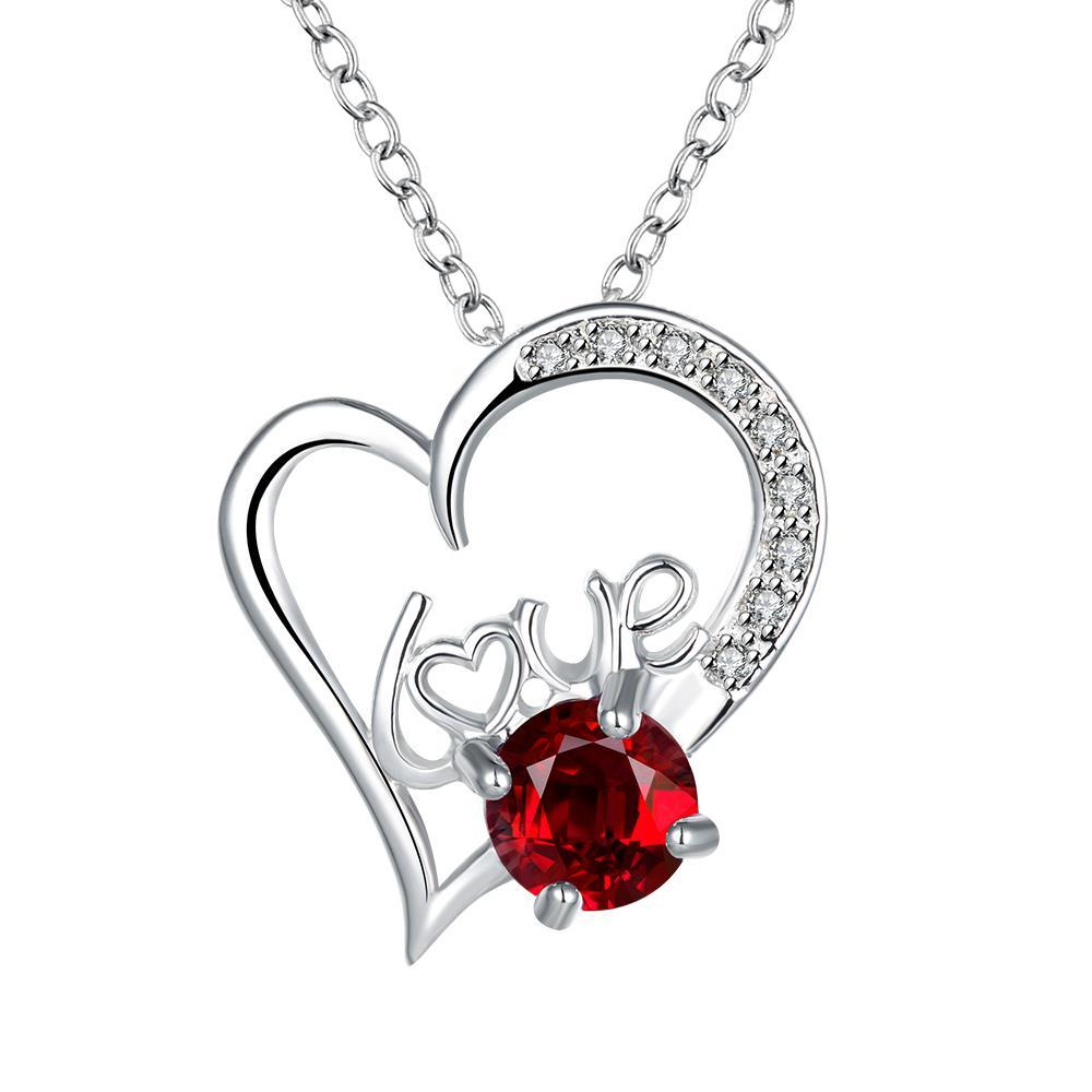 Vienna Jewelry Heart & Love Ruby Red Drop Necklace