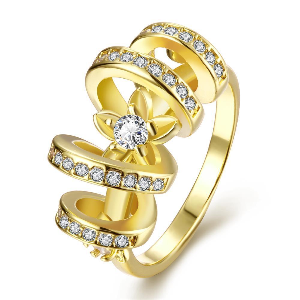 Vienna Jewelry Gold Plated Swirl Loop Design Ring