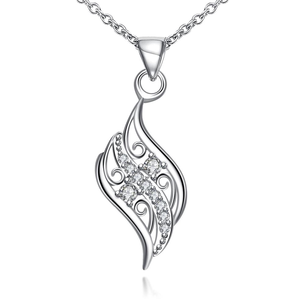 Vienna Jewelry Crystal Jewels Spiral Curved Emblem Necklace