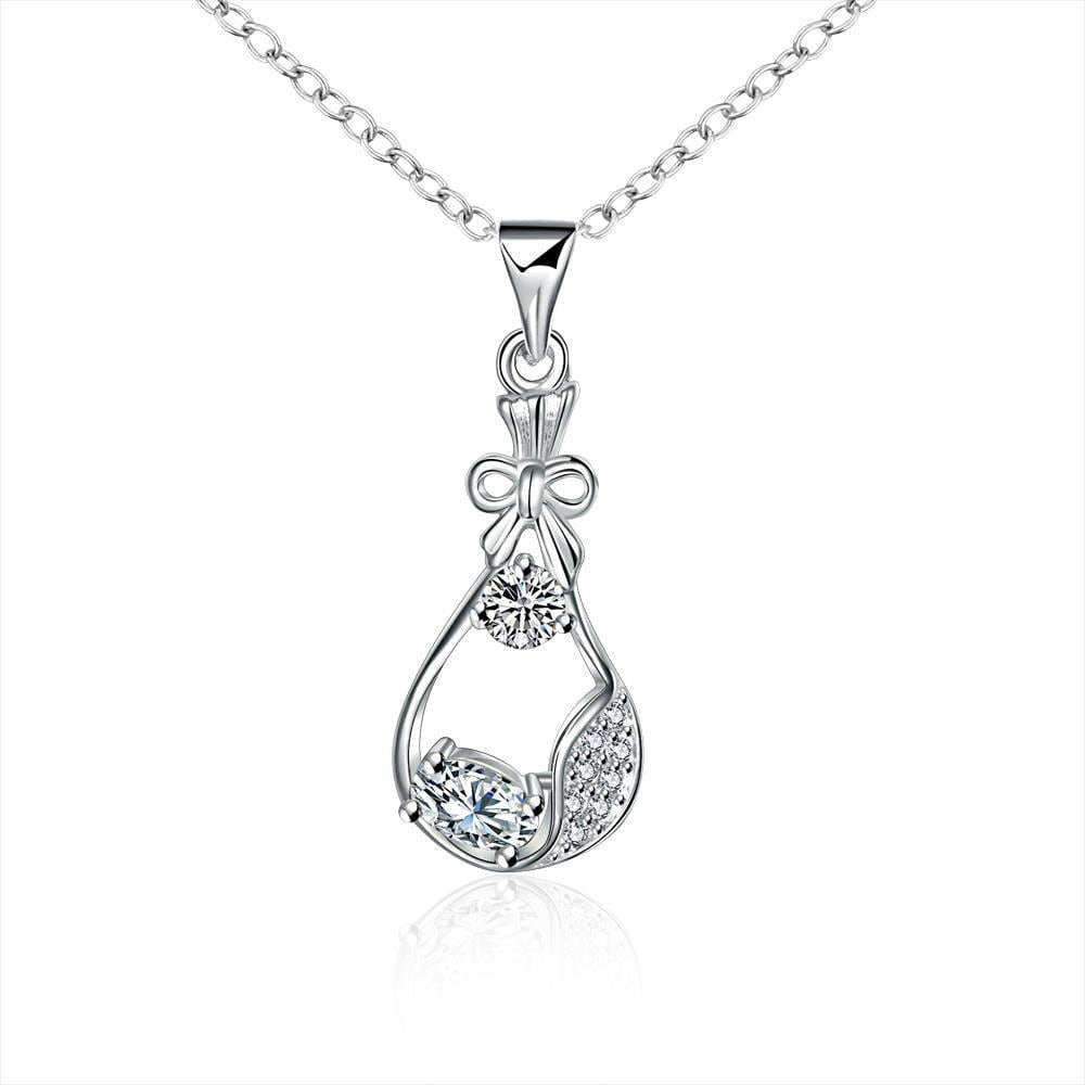 Vienna Jewelry Crystal Jewels Curved Pendant Drop Necklace