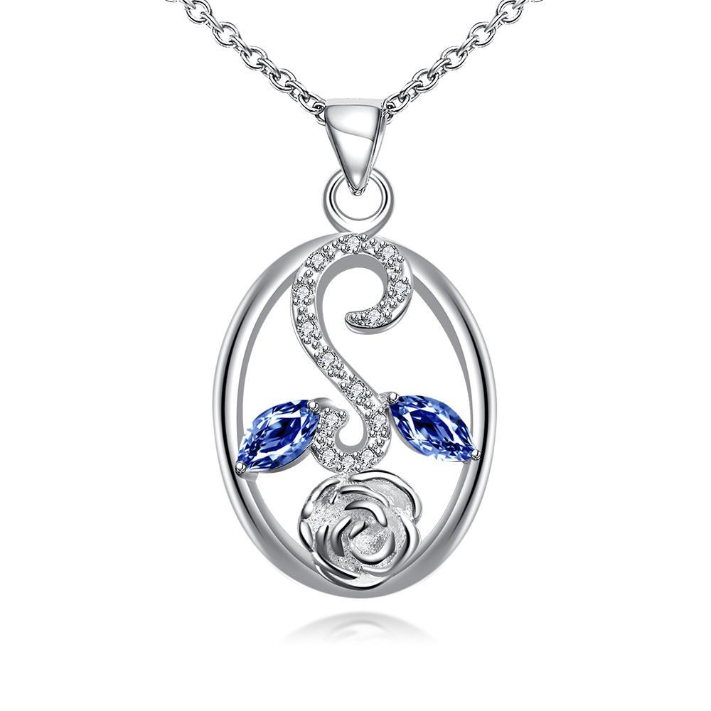 Vienna Jewelry Sapphire Leaf Spiral Jewels Pendant Drop Necklace