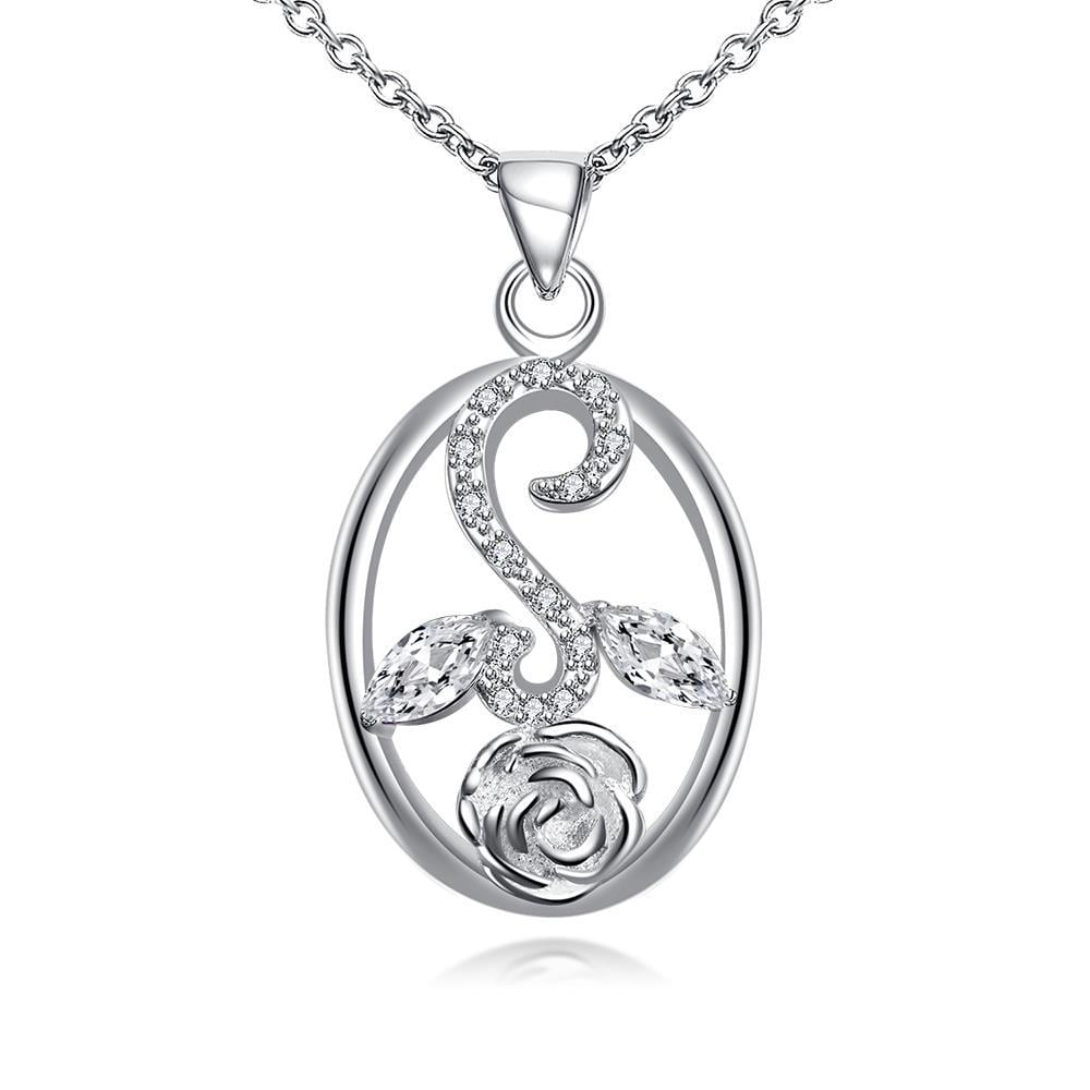 Vienna Jewelry Crystal Jewels Leaf Spiral Jewels Pendant Drop Necklace