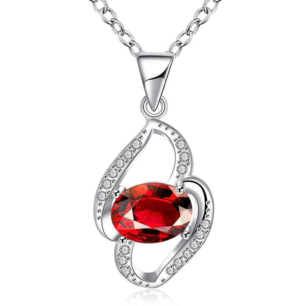 Vienna Jewelry Petite Ruby Red Gem Spiral Drop Necklace