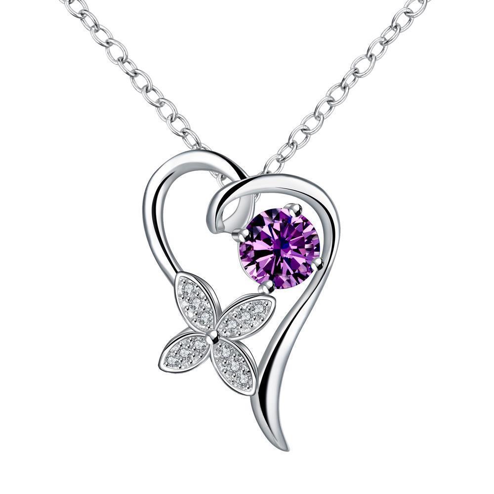 Vienna Jewelry Petite Purple Citrine Hollow Heart Drop Necklace