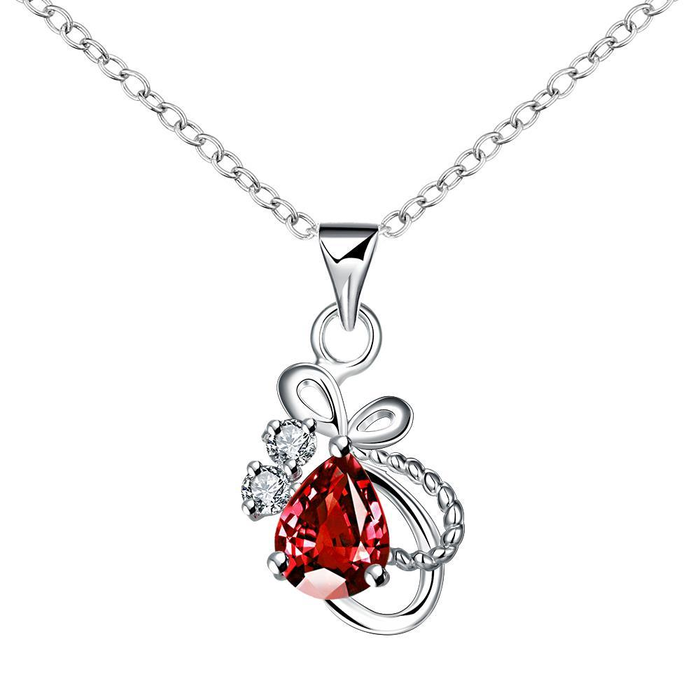 Vienna Jewelry Mock Ruby Red Curved Intertwined Drop Necklace