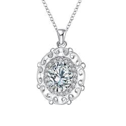 Vienna Jewelry Crystal Stone Blossoming Pendant Drop Necklace - Thumbnail 0