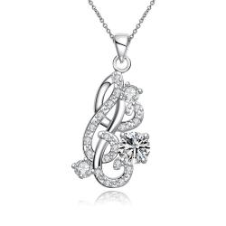 Vienna Jewelry Petite Crystal Stone Gem Spiral Abstract Emblem Necklace - Thumbnail 0