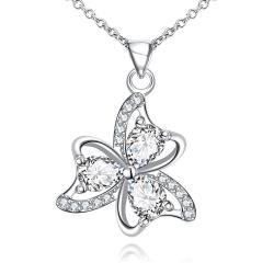 Vienna Jewelry Trio-Clover Petal Mock Crystal Stone Drop Necklace - Thumbnail 0