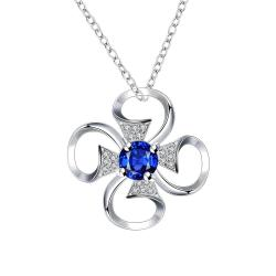 Vienna Jewelry Petite Mock Sapphire Hollow Clover Drop Necklace - Thumbnail 0