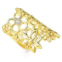 Vienna Jewelry Gold Plated Floral Laser Cut Crown Jewel Ring Size 7 - Thumbnail 0
