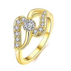Vienna Jewelry Gold Plated Zig-Zag Crystal Ring - Thumbnail 0