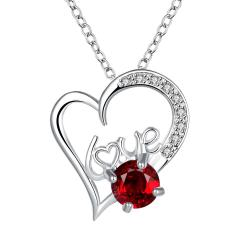 Vienna Jewelry Heart & Love Ruby Red Drop Necklace - Thumbnail 0
