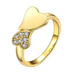 Vienna Jewelry Gold Plated Split Heart Ring - Thumbnail 0