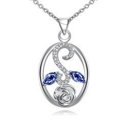 Vienna Jewelry Sapphire Leaf Spiral Jewels Pendant Drop Necklace - Thumbnail 0