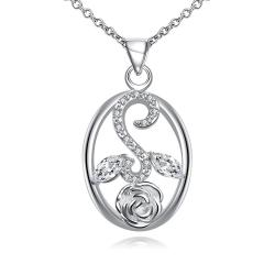 Vienna Jewelry Crystal Jewels Leaf Spiral Jewels Pendant Drop Necklace - Thumbnail 0