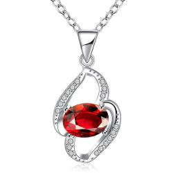 Vienna Jewelry Petite Ruby Red Gem Spiral Drop Necklace - Thumbnail 0