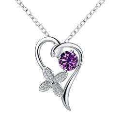 Vienna Jewelry Petite Purple Citrine Hollow Heart Drop Necklace - Thumbnail 0